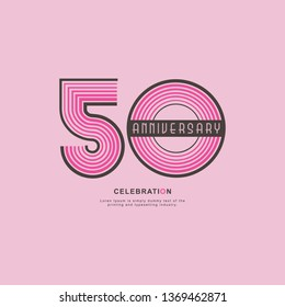 50 Year Anniversary Vector Template Design Illustration, with flat design.