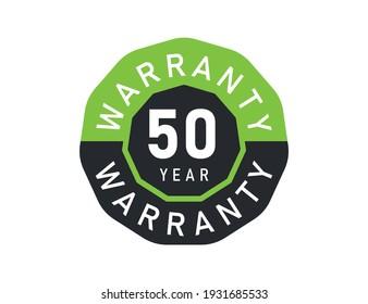 50 year warranty logo isolated on white background. 50 years warranty image