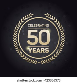 50 years Anniversary Badge on Black Background Vector Illustration.