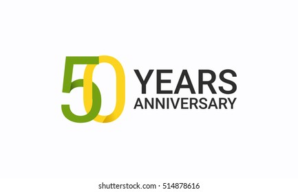 50 Years Anniversary, Birthday Symbols and Signs using  Flat and Simple Vector Design. Template Logo Celebration Isolated on White Background
