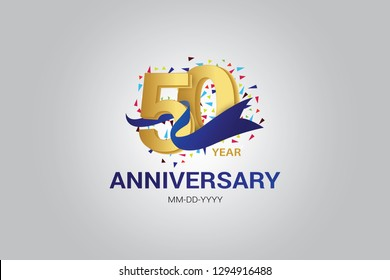 50 years anniversary blue ribbon celebration logotype. anniversary logo with golden and Spark light white color isolated on black background, vector design for celebration, invitation card-vector