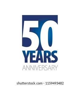 50 Years Anniversary blue white logo icon banner