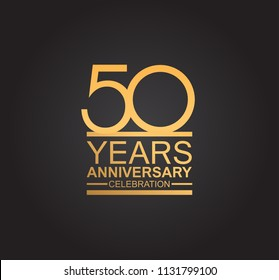 50 years anniversary celebration design with thin number shape golden color for special celebration event