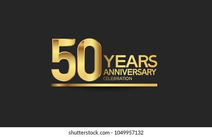 50 years anniversary celebration with elegant golden color isolated on black background