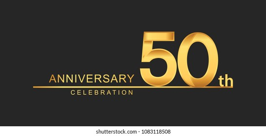 50 years anniversary celebration with elegant golden color isolated on black background, design for anniversary celebration.