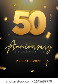 50 Years Anniversary Celebration event. Golden Vector birthday or wedding party congratulation anniversary 50th.