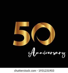 50 Years Anniversary Celebration Gold Black Background Color Vector Template Design Illustration