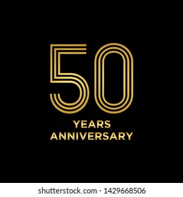 50 years Anniversary Celebration with golden text on dark background, vector template