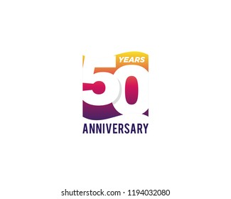 50 Years Anniversary Celebration Icon Vector Logo Design Template. Gradient Flag Style.