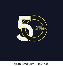 50 years anniversary celebration linked number logo, isolated on dark background