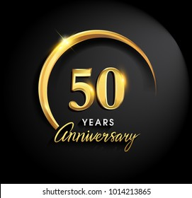 50 years anniversary celebration. Anniversary logo with ring and elegance golden color isolated on black background, vector design for celebration, invitation card, and greeting card
