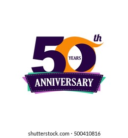 50 years anniversary celebration logo design with decorative ribbon or banner. Happy birthday sign.