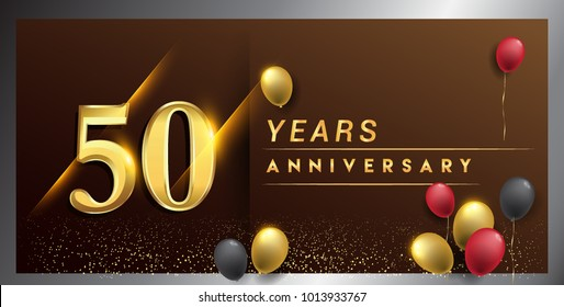 50 years anniversary celebration logotype. anniversary logo with golden color, balloon and confetti isolated on elegant background, vector design for celebration, invitation card, and greeting card