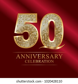50 years anniversary celebration logotype red background.