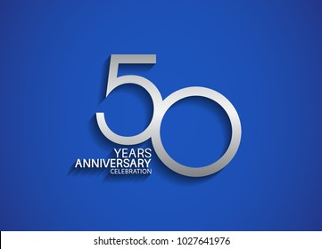 50 years anniversary celebration logotype with silver color isolated on blue background