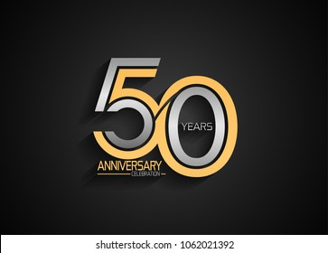 50 years anniversary celebration logotype. anniversary logo with golden and silver composition color, vector design for celebration, invitation card, and greeting card