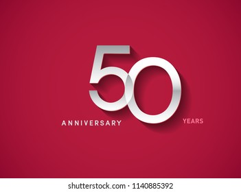 50 years anniversary celebration logotype with silver color isolated on Red background