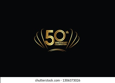 50 years anniversary celebration logotype. anniversary logo with golden and Spark light white color isolated on black background, vector design for celebration, invitation greeting card-Vector