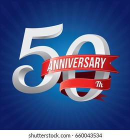 50 years anniversary celebration logotype. 50th silver number with red ribbons on blue background