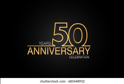 50 years anniversary celebration logotype. anniversary logo with golden and silver color isolated on black background, vector design for celebration, invitation card, and greeting card