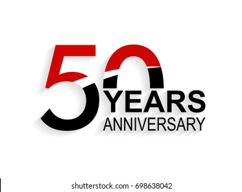 50 years anniversary celebration logotype. anniversary logo with red, white and black color isolated on white background, vector design for celebration, invitation card, and greeting card