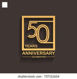 50 years anniversary celebration logotype style linked line in the square with golden color. vector illustration isolated on dark background