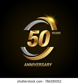 50 Years Anniversary Celebration Logotype. Golden Elegant Vector Illustration with Swoosh, Isolated on Black Background can be use for Celebration, Invitation, and Greeting card