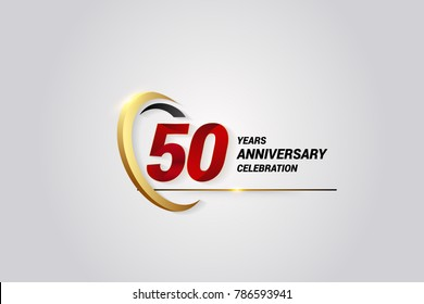 50 Years Anniversary Celebration Logotype. Red Elegant Vector Illustration with Gold Swoosh, Isolated on Black Background can be use for Celebration, Invitation, and Greeting card