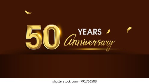 50 years anniversary celebration logotype. anniversary logo with golden color and gold confetti isolated on dark background, vector design for celebration, invitation card, and greeting card