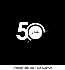 50 Years Anniversary Celebration Number White and Black Vector Template Design Illustration