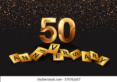 50 years anniversary celebration. Poster or brochure template. Vector illustration.