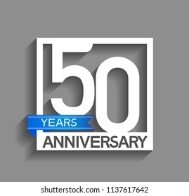 50 years anniversary celebration square style blue ribbon isolated on gray background
