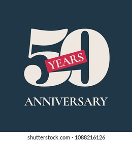 50 years anniversary celebration vector icon, logo. Template graphic design element for 50th anniversary card
