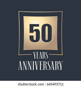 50 years anniversary celebration vector icon, logo. Template design element with golden number for 50th anniversary greeting card