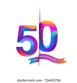 50 Years Anniversary with colorful stylized number. Applicable for brochure, flyer, Posters, web and Banner Designs. Vector illustration.
