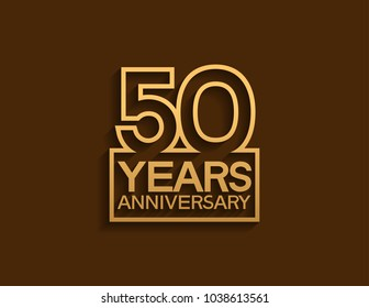 50 years anniversary design line style with square golden color for celebration event