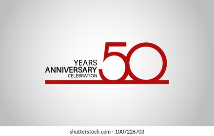 50 years anniversary design with simple line red color isolated on white background for celebration