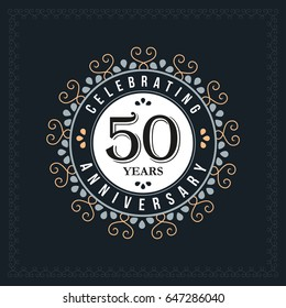 50 years anniversary design template. Vector and illustration. celebration anniversary logo. classic, vintage style