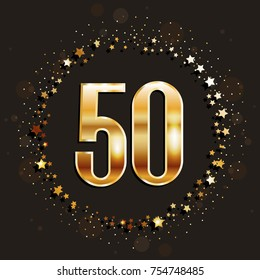 50 years anniversary gold banner on dark background. Vector illustration.