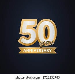 50 years anniversary gold elegant concept background vector Illustration