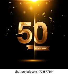 50 Years Anniversary with gold stylized number and confetti. Applicable for brochure, flyer, Posters, web and Banner Designs. Vector illustration.