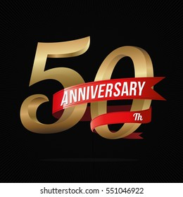 50 Years Anniversary Golden Logo Celebration with Red Ribbon