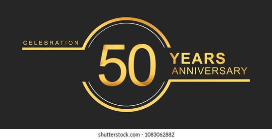 50 years anniversary golden and silver color with circle ring isolated on black background for anniversary celebration event