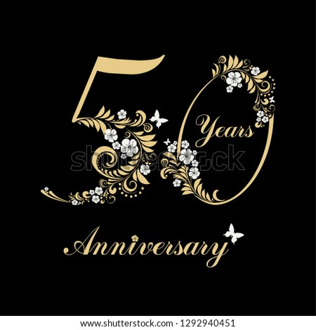 50 Years Anniversary Happy Birthday Card Celebration Black Background With Gold Number Fifty And