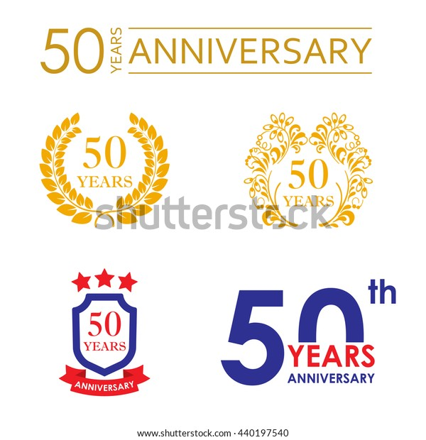 50 Years Anniversary Icon Set Vector Stock Vector (Royalty Free) 440197540