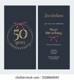 Birthday invitation images stock photos vectors shutterstock 50 years anniversary invitation vector illustration graphic design template with golden number for 50th anniversary stopboris