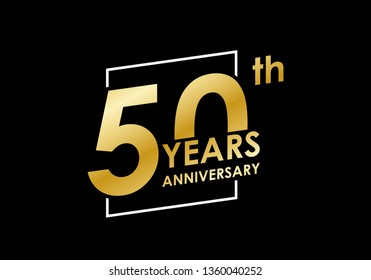 50 years Anniversary logo. 50th Birthday golden badge. Modern icon or label design for wedding, corporate invitation, celebrating, party, business event. Vector illustration.