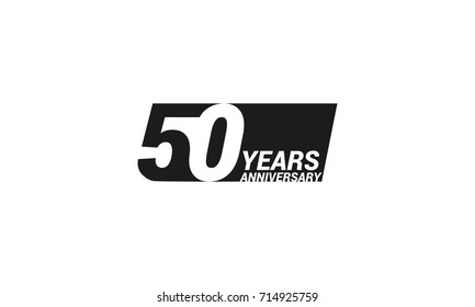50 Years  Anniversary  Logo Celebration with negative space design. Isolated on White Background