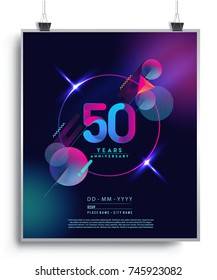 50 Years Anniversary Logo with Colorful Galactic background, Vector Design Template Elements for Invitation Card and Poster Your Birthday Celebration.
