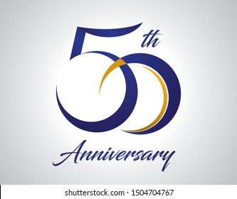 50 years anniversary Logo Design with blue and old yellow color
